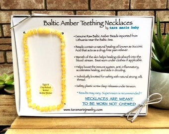 MAXIMUM STRENGTH Raw & Unpolished Butter Natural Baltic Amber Teething Necklace. 12.5 inch. Safety-knotted with screw clasp. Gift Box