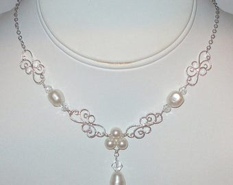 15% OFF Silver Filigree Pearl Necklace, Pearl Y Necklace,  Wedding Jewelry, Bridal Accessories, Bridesmaids Necklace
