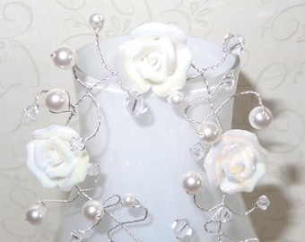 15% OFF White Rose Hairvine Bridal Wedding Hair Vine Accessory Tiara Crown White Roses Pearls Swarovski Crystals