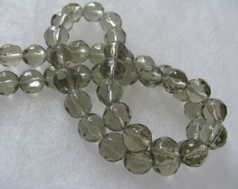 47 Grey Color Glass Beads about 8mm Faceted Round Beads Jewelry Craft Beads