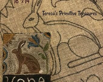 "18"" x 14"" Hooked Rug Pattern Linen Prim Hare"