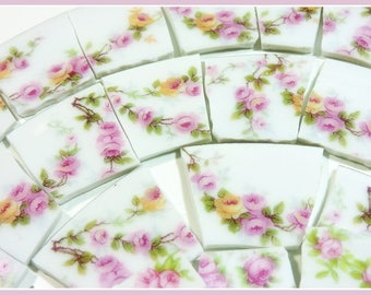 China Mosaic Tiles - BiG BuNCH of FReNCH PiNK RoSeS - 120 Mosaic Tiles