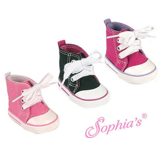High-Top Canvas Sneakers - 18 Inch Doll Shoes