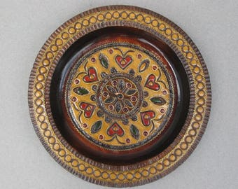 Polish Folk Art Carved Wood Plate with Inlaid Brass & Pyrography Accents Decorative Wooden Plate Made in Poland Heart Motif