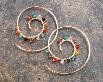 Gold-Chakra-Stone-Swirl-Spiral-Hoop Earrings / Free US Shipping