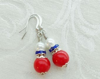 75% Off Sale, Fourth of July, Red, White, and Blue, Pearl,Rhinestone and Vintage Bead Earrings