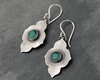 On Sale 30% Off Turquoise Temple Earrings, Sterling Silver, Natural Turquoise Cabochons, Dangle Earrings