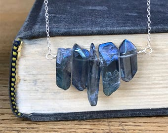 Blue dagger crystals on sterling necklace