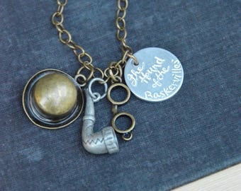Sherlock themed charm necklace. Classic literature, jewelry for the bookworm