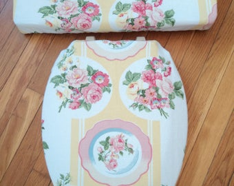 Yellow Pink Rose Toilet Seat Cover Set
