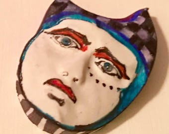 Handmade clay face  mask oval jewelry craft supplies  handmade clown cabochon  face  witch polymer