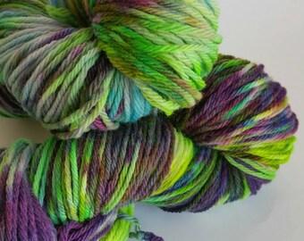 Yarn Merino Worsted SPRINGLE SPRANGLE #12 Wool Handdyed Kettle Dyed  Approx 100 gr 215 yd worsted 100 percent merino artisan multi varigated