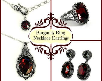 Reserved Listing of Burgundy Necklace and Earrings