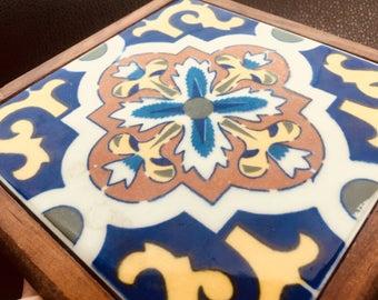 Rare Talavera Style DalTile tile Trivet Mexico Mexican Pottery from Dal-Tile Dallas TX