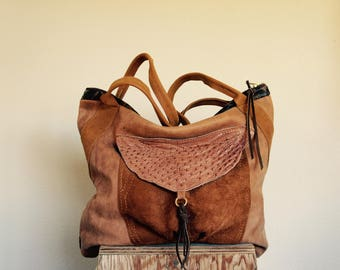 NEW/// Oxford Sling Mixed Leather with Ostrich Hide Pocket and Leather Tote Straps