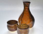 Sake Set with Two Cups - Wheel Thrown and Altered Pottery - Dark Amber with Golden Speckles - Microwave and Dishwasher Safe
