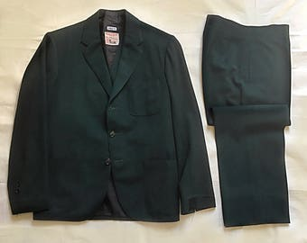 Vintage 1920s Style Men's Green 3 Piece Suit from the Western Costume Company Hollywood ID'd Size 35 Short