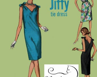 1960s Misses JIFFY Tie Sheath DRESS Pattern Shoulder Ties & V Necklines Simplicity 6009 60s Mad Men Era Pattern Size 12 Bust 34