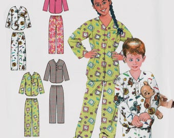 Childrens Pajamas Wrap Robe Belt Top and Pants Sewing Pattern Butterick 5856 Size Small - Xlg 4-14 UNCUT