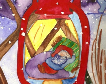 Elf Lantern Christmas ACEO Art Print Christmas Art Watercolor Art Print Illustration Holiday Seasonal Snow Elf Art Print