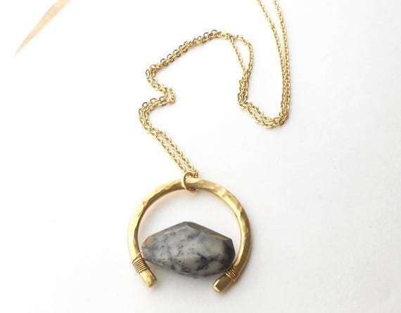 Long Gold Pendant Necklace, Artisan Brass Pendant with Stone Bead, Dendritic Opal