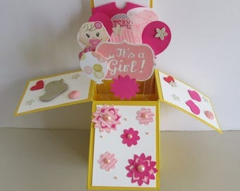 Gender Reveal Its A Girl  Card In A Box Pop Up Card