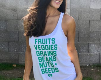 What Vegans Eat. Slouchy Racerback Tank. Made in the USA. Women's Vegan Shirt. Women's Christmas Gift. Gift for Vegan. Custom Women's Tank.