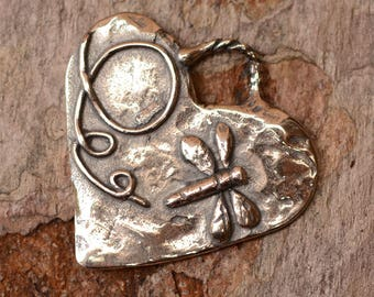 Dragonfly on Heart Pendant in Sterling Silver, PN-669