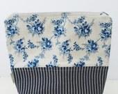 Blue garden project bag/ knitting project bag/ craft bag / cosmetics bag / multi-purpose bag