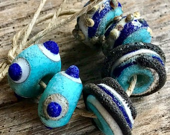 BLUE RIVER - Handmade Lampwork Beads - Earring Pairs - 6 Beads
