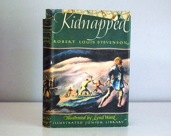 1948 Kidnapped Book, Robert Louis Stevenson, Childrens Adventure Book, Illustrated Junior Library, Lynd Ward, Pirate Story, Four Color Art
