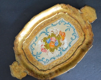 Small Venetian Tray with Handles - Vintage Decorative Gold Floral Platter Papier Mache Florentine Style Tray