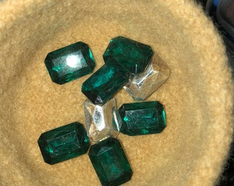 12 Faceted  Recangular Stones with Foil Back 22 mm