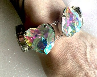 Rainbow Crystal Heart Bracelet~Holographic Crystal~Rainbow Aura~sparkly hearts bracelet~crystal AB gems~colorful jewelry~galactic cosmic