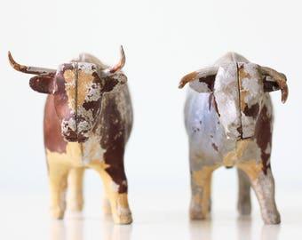 Vintage Metal Cows, Set of 2 Bulls