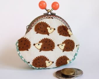 Hedgehog coin purse, kiss lock frame with peach bobbles, cotton, Japanese print - ready to post