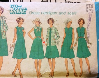 Vintage 1970s Sewing Pattern Simplicity 7360 Misses' Dress Cardigan and Scarf Size 14.5 Bust 37 Inches Complete