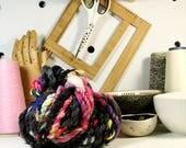 3ply disco tech .. art yarn, hand spun yarn, handspun art yarn, wool yarn, boucle yarn, bulky yarn, handspun wool yarn,