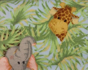 """Jungle Babies by Patty Reed animals Lion Monkey Hippo Elephant Giraffe Tiger 100% Flannel cotton fabric   42""""-44"""" by Fabric Traditions"""