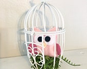 Owl Birdcage Decoration - Nursery Decoration, Farmhouse Decor, Mossy Nest, Woodland Decoration, Cake Topper, Shabby Chic