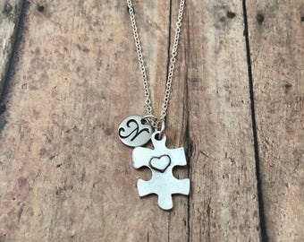 Puzzle piece initial necklace - puzzle jewelry, Autism necklace, Autism awareness necklace, puzzle piece necklace, Autism jewelry