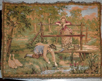 Two Tapestries From France, Vintage 10 x 14 Inches