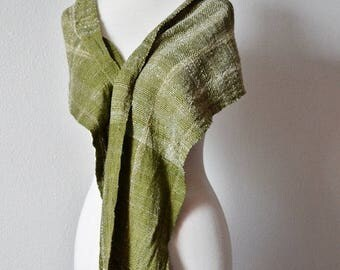 First Fall Sale - 15% Off Handwoven Scarf in Handspun Yarn - Green Rustic Luxury Fiber Wrap in Forest Moss. Boho, Woodland, Forest, Scarf or