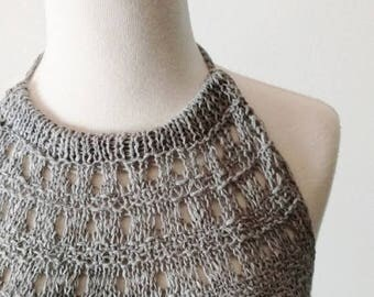 First Fall Sale - 15% Off Handknit Light Grey  Haltertop - Backless Unlined Lace Knit Textured Layering Top in Cotton & Linen - Natural Fibe