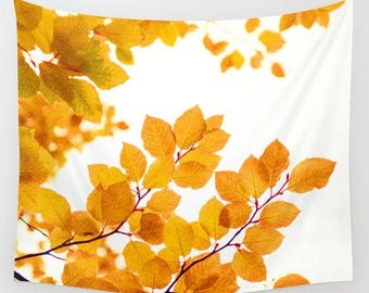 fabric wall tapestry-nature photo-leaves-yellow-white-tree image-modern wall art-home decor-wall hanging-wall decor