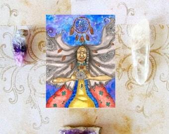 Native American Art Spider Grandmother Goddess Prayer Card Paganism Fantasy Shamanism Art Divine Feminine Sacred Pagan Art Spiritual Art