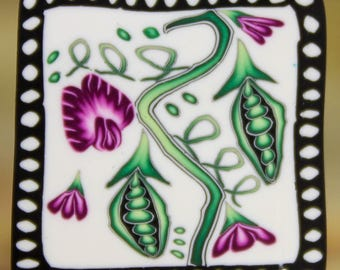 Polymer Clay Square Cane -'Sweet Pea' (4D)