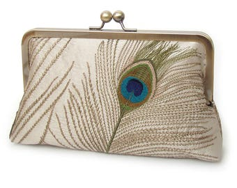 Peacock feather clutch purse, silk bag, embroidered peacock feathers, wedding bridal, taupe, stone