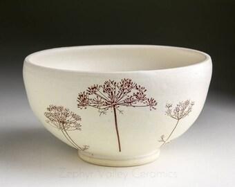 Stoneware Bowl - Salad Bowl - Pasta Bowl - Pottery Bowl - Cereal Bowl - Soup Bowl - Botanical Bowl - Dill Herb