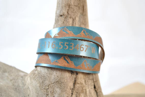 Custom Leather Triple Wrap Lat. Long. coordinates
